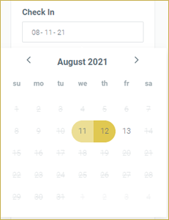 screenshot of Check On date picker on Camp Booking Portal