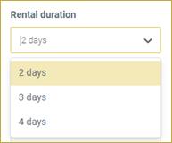 screenshot of Rental Duration drop-down on Camp Booking Portal