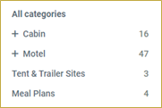 screenshot of Categories filter area on Camp Booking Portal