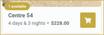 screenshot detail of cart button in item listing on Camp Booking Portal