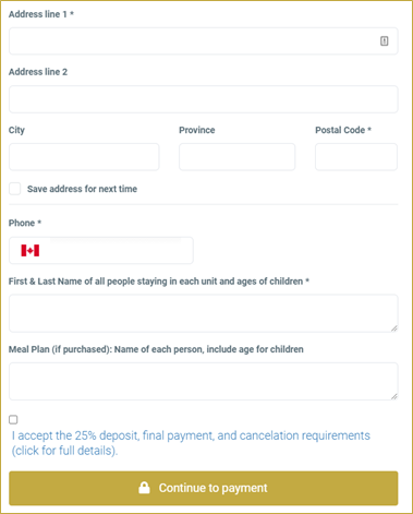screenshot of address details form in checkout area of Camp Booking Portal